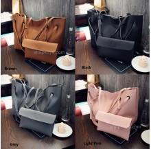 2in1 Large Shoulder Tote Bag with Purse Set