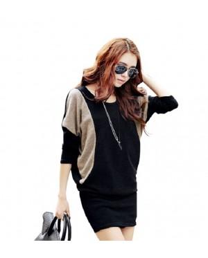 Two-Tone Cotton Midi Dress