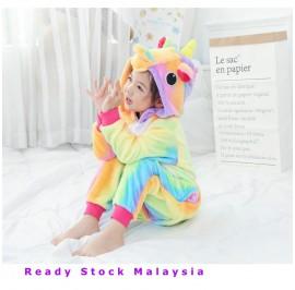 [READY ] Rainbow Unicorn Kids Children Pajamas Cosplay Kigurumi Onesie Costume