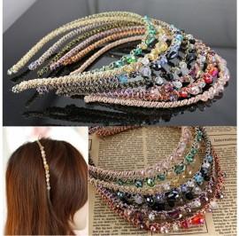 Women Rhinestone Headband Retro Crystal Beads Party Gift Hair Headwear