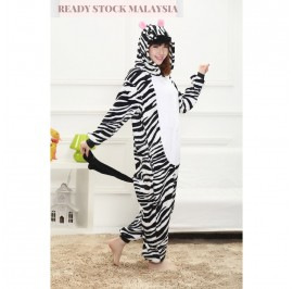 [READY ] Zebra Adult Unisex Pajamas Cosplay Kigurumi Onesie Costume Sleepwear