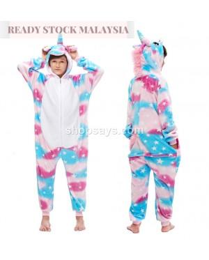 [READY ] Blue star Unicorn Kids Children Pajamas Cosplay Kigurumi Onesie Anime Costume