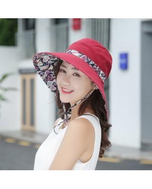 [READY ] Foldable 2 sides Cotton Sun Beach hat 05
